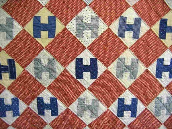 "Quilt  H Quilt. 1890, 82 x 70"", Burley Auction Group, Live Auctioneers"
