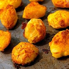 Crunchy Roast Potatoes (Delia Smith). This is my old favourite recipe for roast potatoes but with a new twist, and that's a flavouring of saffron – not too much, just a hint – and with the added dimension of a deep saffron colour, which makes this look even more irresistible.