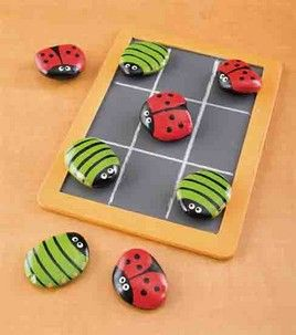 Using similar shaped rocks, and any flat surface for a Tic-Tac-Toe board, this would be a fun addition to a boy's or a girl's shoe box.  I'd probably include a small plastic baggie to hold the pieces.