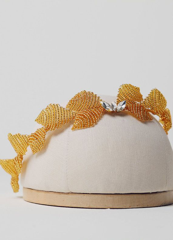 Gold Plated or Silver Plated leaf Rhinestones by BlueMeadowBride