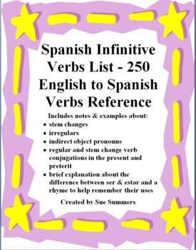 Spanish Infinitive Verbs List - 250 English to Spanish Verbs Reference - It includes notes about stem changes, irregulars, indirect object pronouns, examples of regular and stem change verb conjugations in the present and preterit and a brief explanation about ser and estar uses.