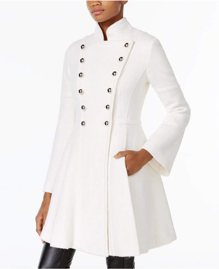 Guess Skirted Double-Breasted Military Coat #guess #men #women #coat #winterfashion #shoes #handbags #