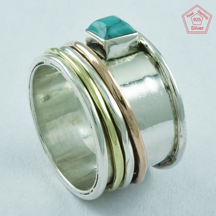 Saint Patrick Day TURQUOISE 925 STERLING SILVER,BRASS,COOPER SPINNER RING,R5002 #SilvexImagesIndiaPvtLtd #Spinner #AllOccasions