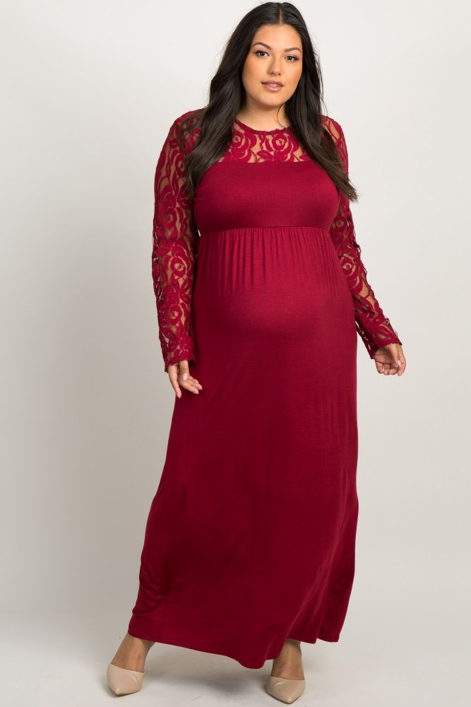 ad0c59799f40a Burgundy Lace Sleeve Plus Maternity Maxi Dress | •Pregnancy• | Lace ...