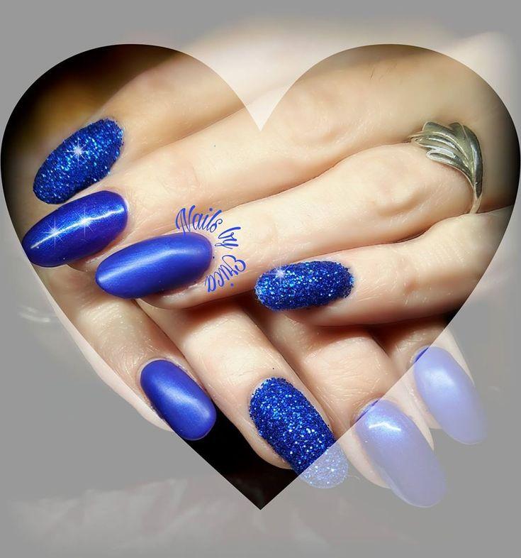 Remarkeble Royal Blue Matte Metallic and Sugar Coat Nails