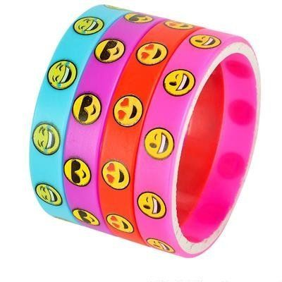 Emoji Smile Emoticon Silicone Wristband Bracelets (Multi, 50 Pack) - http://partysuppliesanddecorations.com/emoji-smile-emoticon-silicone-wristband-bracelets-multi-50-pack.html
