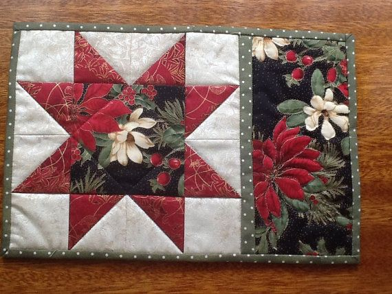 Quilted Placemat Mug Rug Snack Mat Coaster by AnniesQuiltCraft