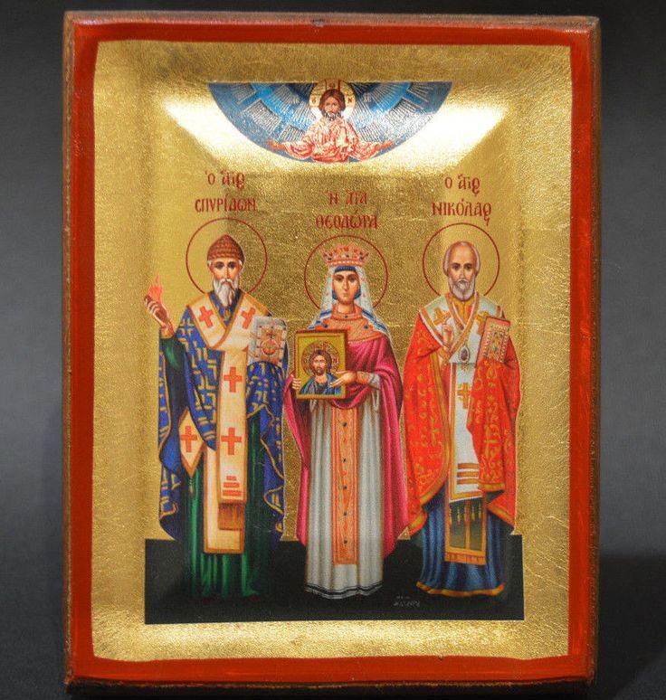 Handmade Orthodox Icon Byzantine Greek Serigraph Nicholas Theodora Spiridon