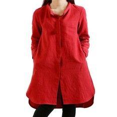 ZANZEA Fashion 2018 Autumn Womens Casual Loose Dress Long Sleeve Split Hem Cotton Dresses Plus Size S-4XL Vestidos Red
