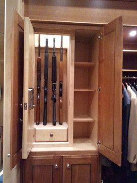 Storage & Closets Design Ideas, Pictures, Remodel and Decor- actually a really good idea to have a gun safe blend, but be secure as well.