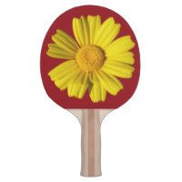Sunny yellow chamomile ping pong paddle