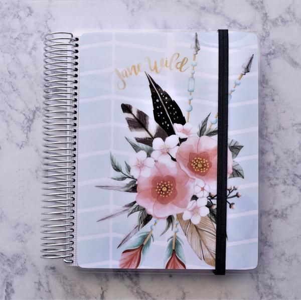 This notebook is the perfect choice for the the boho female in your life!  Laminated with heavy 10 mil laminate Permanent elastic ribbon. Dot grid notebook, graph notebook, or lined.