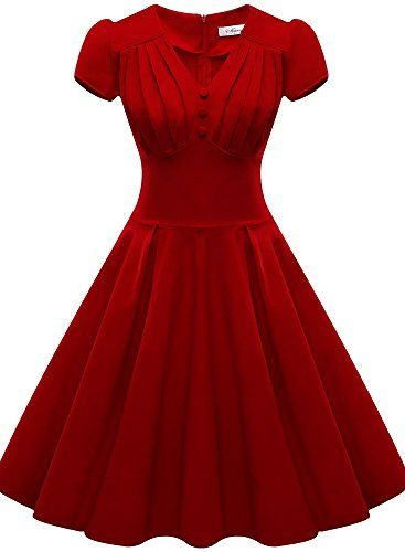 Jiuzhoudeal Women's Vintage 1950s Retro Deep-V Neck Cap Sleeve Swing Dress (Large, Red 2) Jiuzhoudeal http://www.amazon.com/dp/B017KRKKC8/ref=cm_sw_r_pi_dp_7Fvxwb0XHG94H