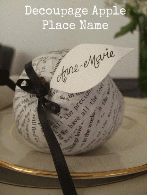 Decoupage Apple - beautiful DIY place setting for weddings and dinner parties