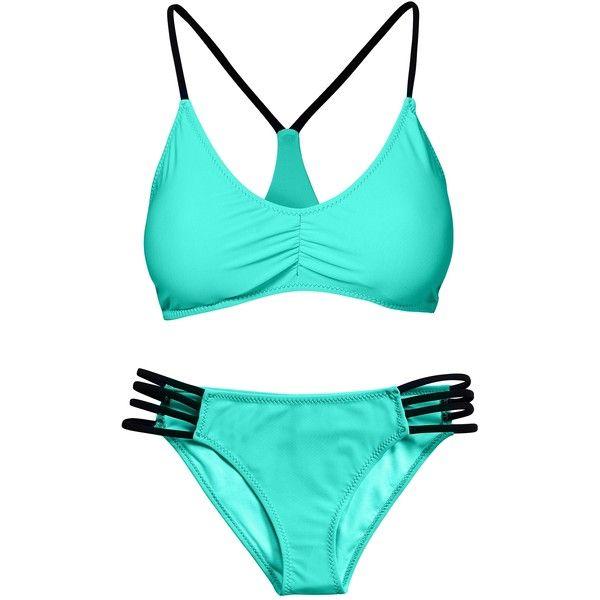 Hot Anatomy Sporty Racer Back Bikini Set ($64) ❤ liked on Polyvore featuring swimwear, bikinis, bikini, blue, womens-fashion, racerback bikini, racerback swimwear, bikini bottom swimwear, bikini swim wear and racer back bikini
