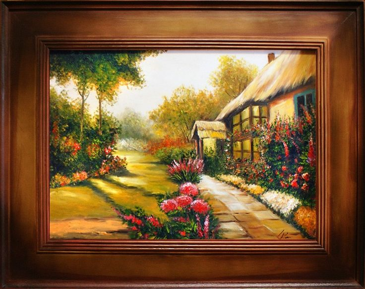 Obraz obrazy olejne dworek chata / stylowe zdobione ramy / chaty dworki