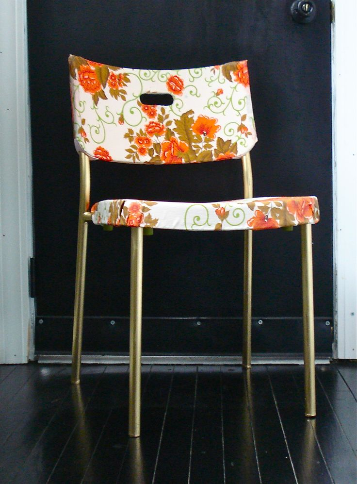 fabric decoupage ikea chair makeover with gold spray painted legs