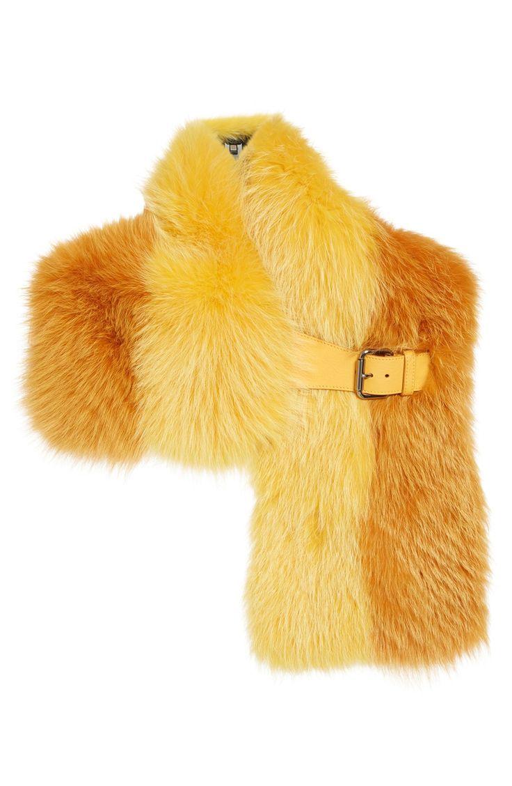 Fendi Leather Trim Bicolor Genuine Fox Fur Stole