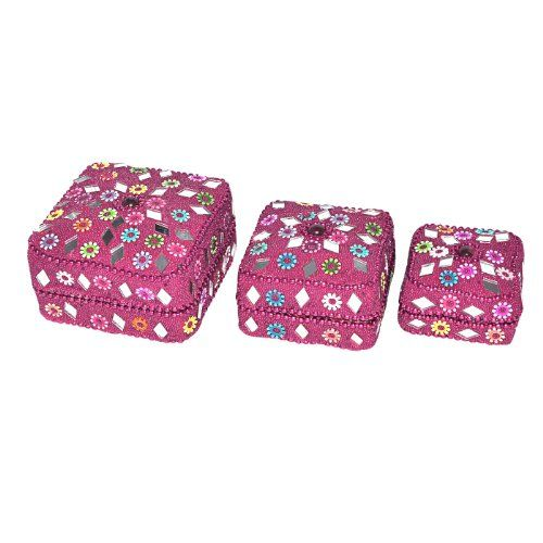 Indian Gift Home Decor Pink Jewellery Boxes Handmade Lac Beaded Material Table Top Vintage Style Decorative Box Set of 3 Pcs Antique Pill Box DakshCraft http://www.amazon.co.uk/dp/B00ASIRWQY/ref=cm_sw_r_pi_dp_X3Kfwb004R6DK