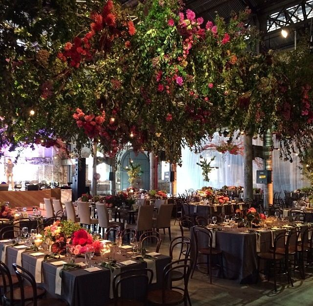 The biggest hanging garden I have made. It was 150 square metres of flowers and foliage. This was for a wedding at Australian Technology Park, Sydney.