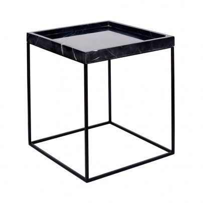 The Black Marble Tray Side Table Black Base