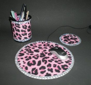 PINK CHEETAH & BLING Computer Desk Set  Pink by LaurieBCreations