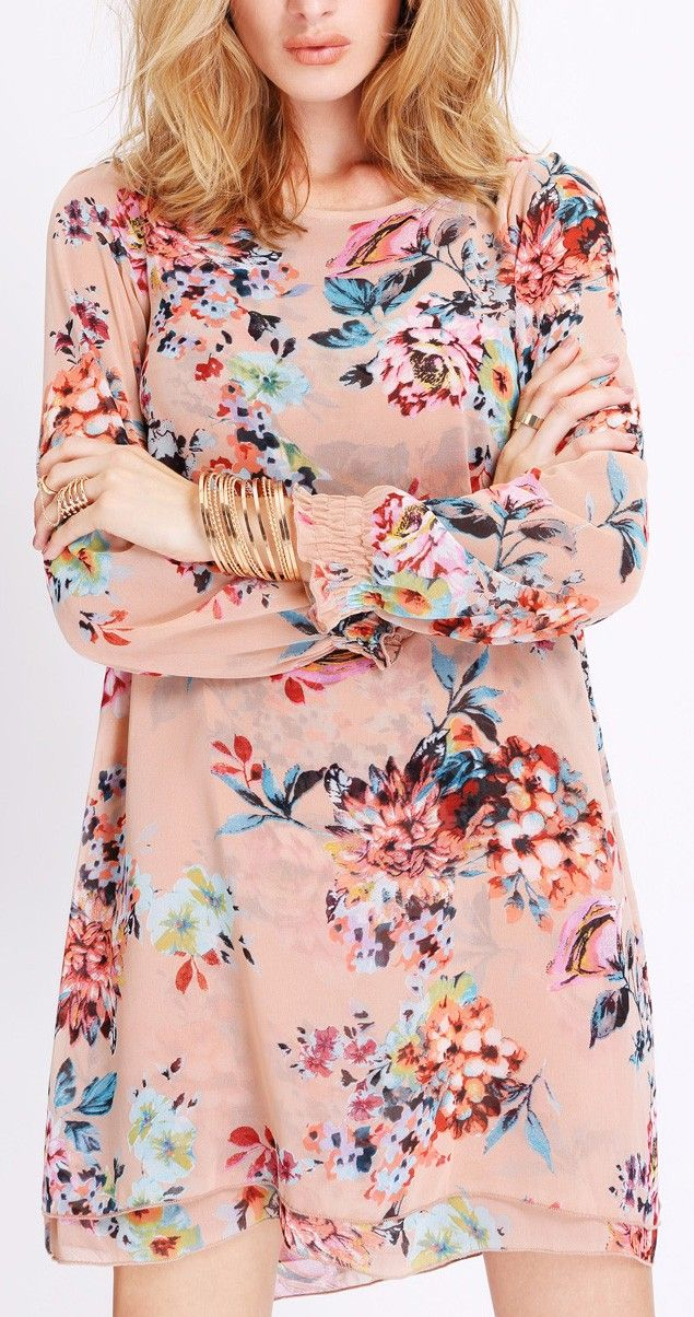Apricot floral dress from SheIn