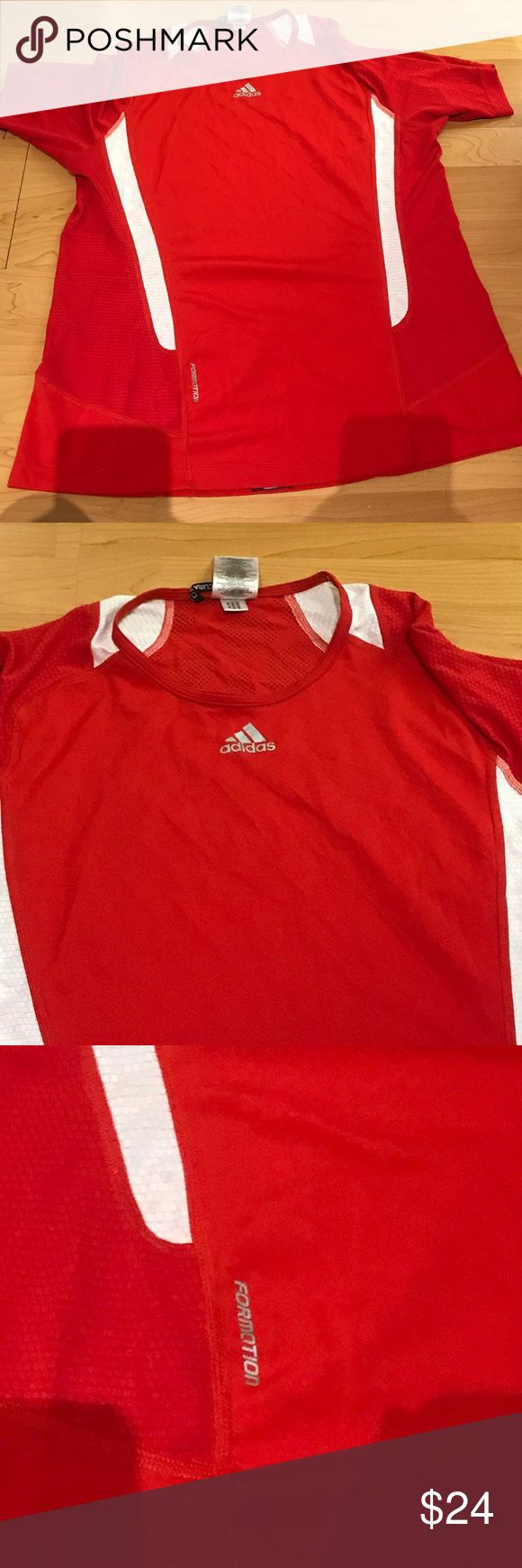 Adidas workout shirt Red adidas workout top in great condition. Great for soccer or running adidas Shirts Tees - Short Sleeve