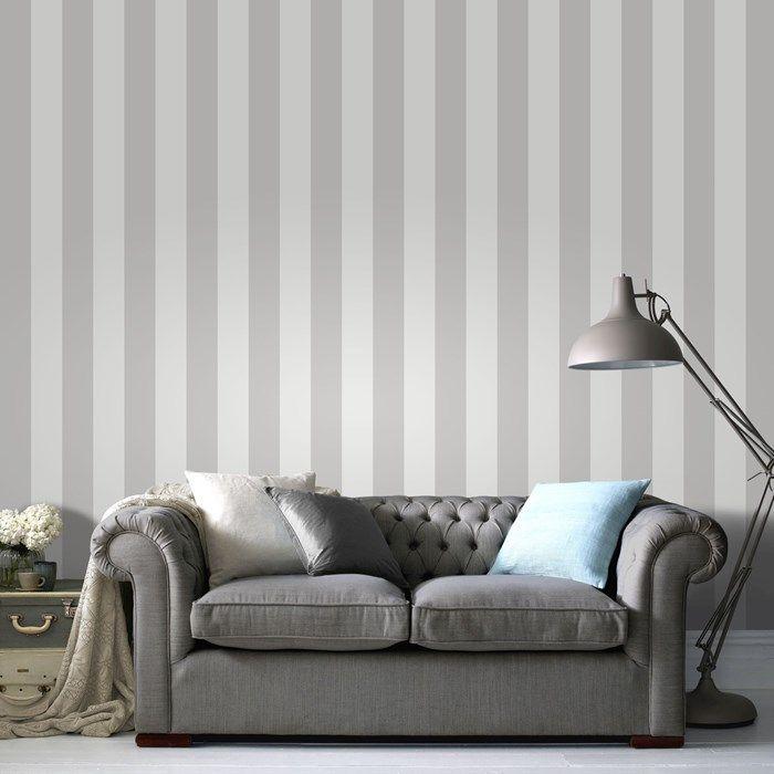 Sparkle Stripe White/Silver Wallpaper