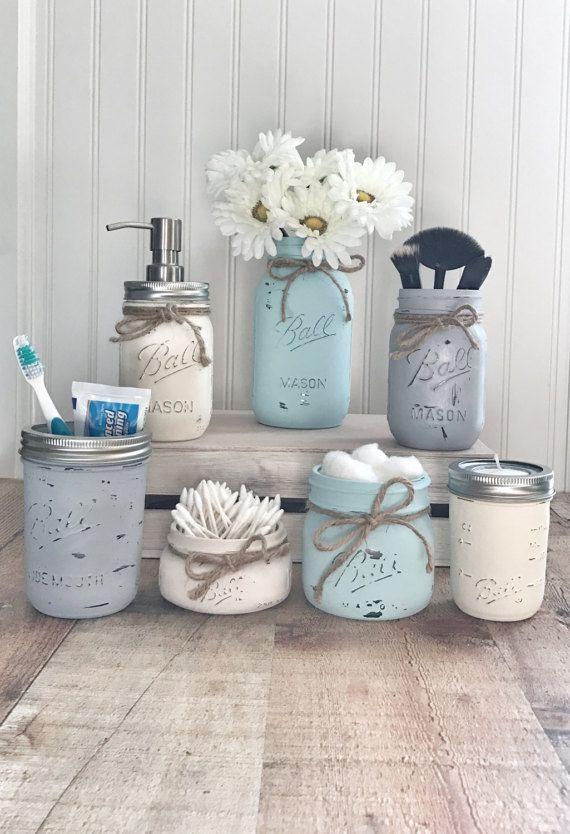 Einmachglas Badezimmer-Set, Einmachglas Bad Veranstalter, bemalte Einmachgläser, Farmh …