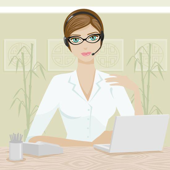 Recepcionista, mujer trabajadora - Vector