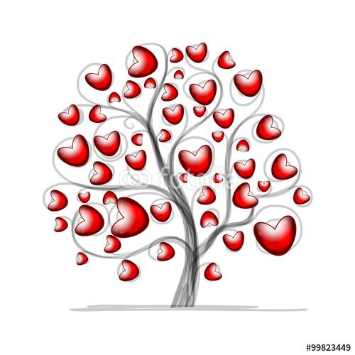 Вектор: Love tree with hearts for your design
