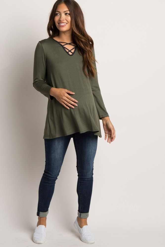 Asymmetrical pregnancy top in olive suede   – Products