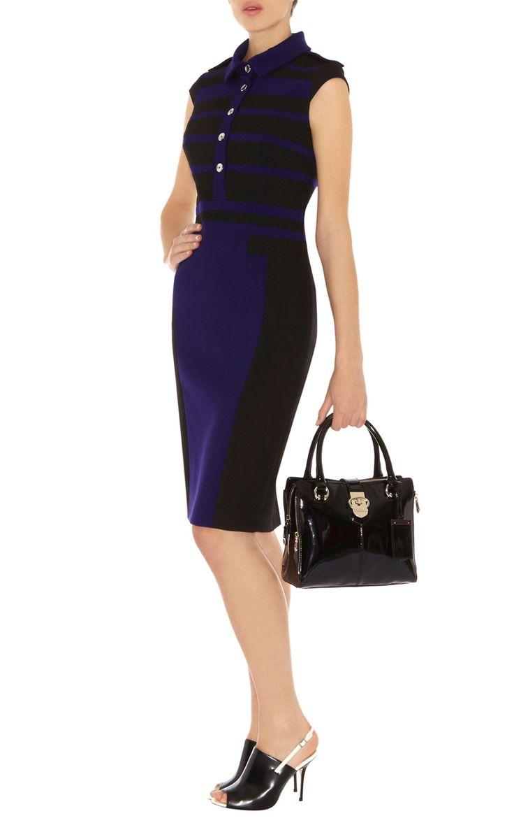 Black dress karen millen - Karen Millen Modern Stretch Tailored Dress Blue Multi Karen Millen Dp209 Dress At Karen Millen