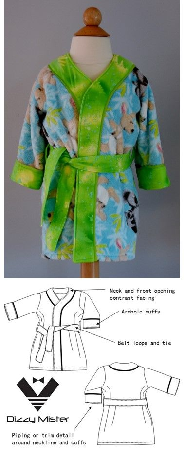 Dressing gown pattern, made to stylishly match the PJs pattern. There are two listings- sizes 0-3 and sizes 4-7.