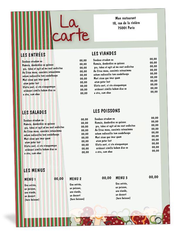 Carte de menu de restaurant italien restaurants for Les francais et la cuisine