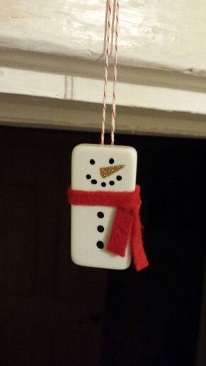 Christmas ornaments. Snowman. Domino. Handmade.