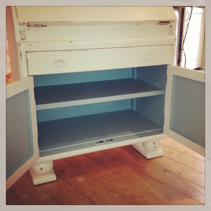 Shabby chic Bureau with turquoise interior.  Farrow & ball. Dix blue no 82 & white tie.