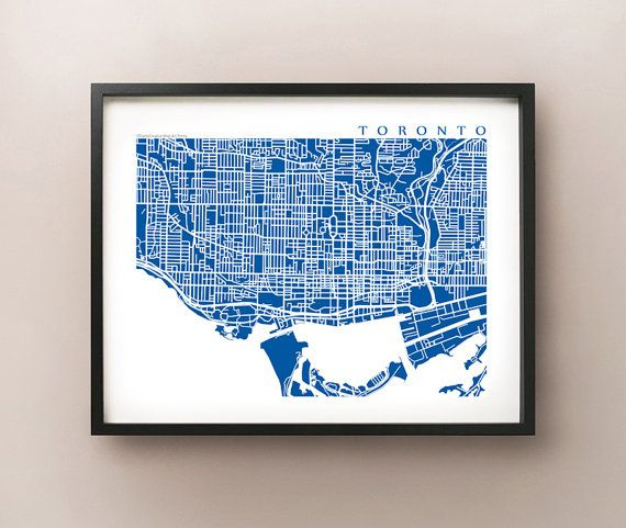 Downtown Toronto Map Art  - Ontario Poster Print