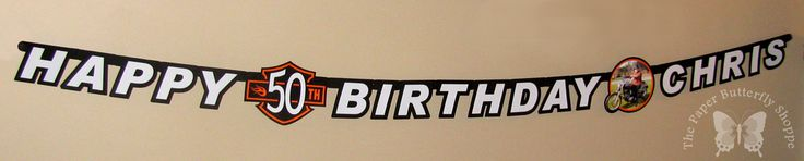 personalized 50th birthday Harley banner