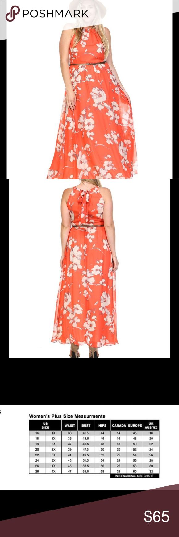 Belted Floral Maxi Dress Belted floral maxi dress. 100% polyester. Model is wearing a size 14. Dresses Maxi