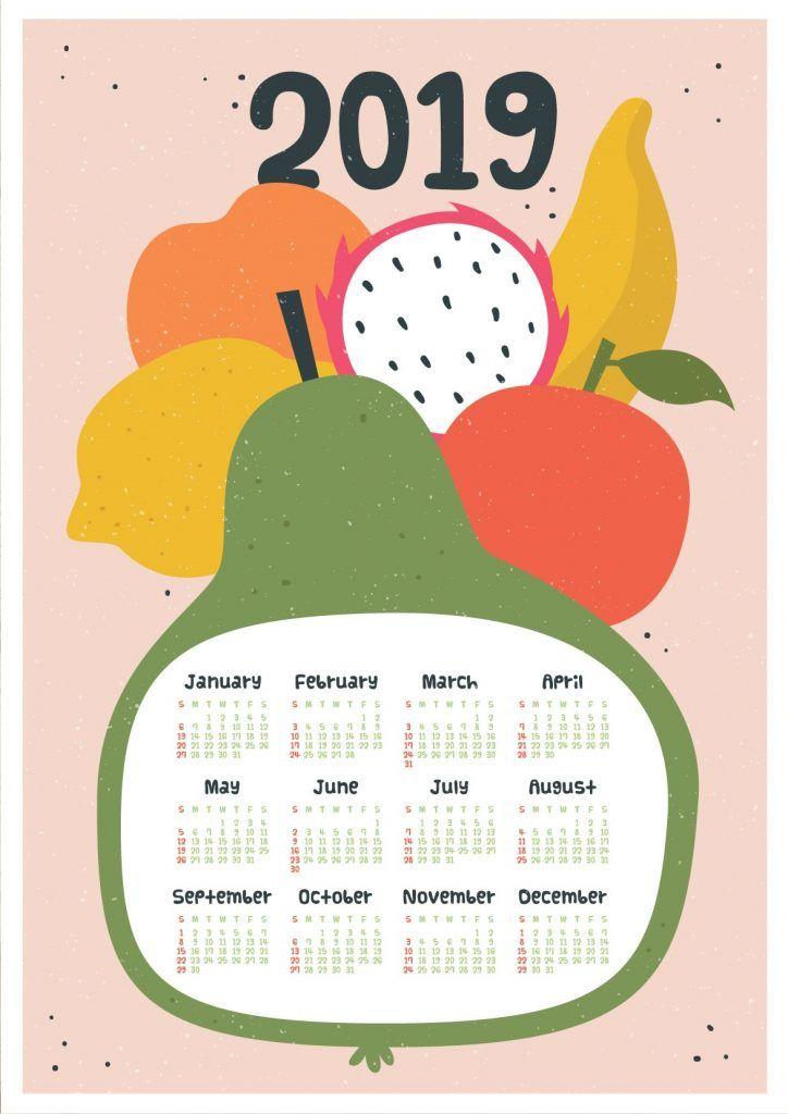 Botanical Fruit Printable 2019 Calendar Kalender Desain Dekorasi