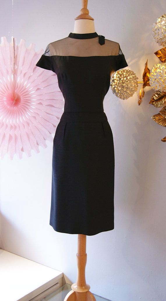 1950s Dress // Vintage 50s Sexy Mesh Wiggle Dress by xtabayvintage, $198.00