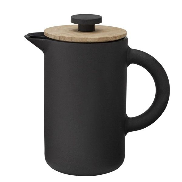Stelton Theo French Press:  Combining Scandinavian design with Asian cutlure, this Theo French Press coffee maker from sophisticated, Danish brand, Stelton, is a stylish addition to the coffee lovers kitchen. Incorporating a matte black body and bamboo lid, it creates a both rustic and elegant form. Coffee stains are avoided, with the intelligently designed dripless spout built into the lid and press.