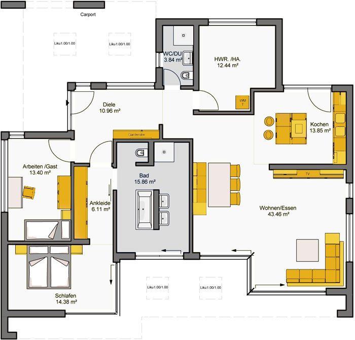 die besten 25 fertighaus bungalow ideen auf pinterest. Black Bedroom Furniture Sets. Home Design Ideas