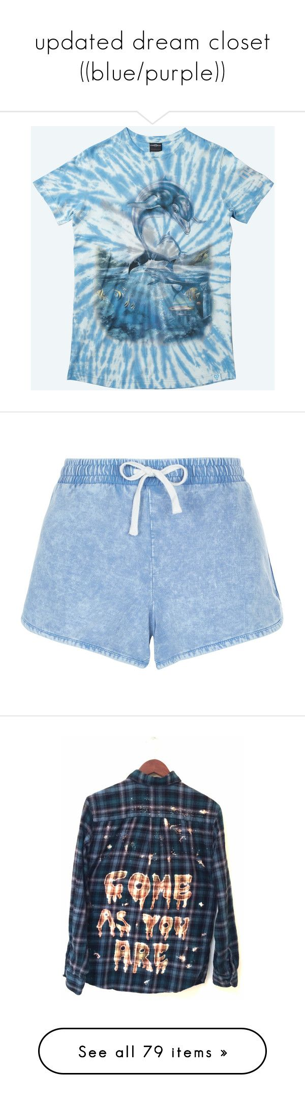 """""""updated dream closet ((blue/purple))"""" by amberundead ❤ liked on Polyvore featuring drop dead, shorts, bottoms, duck egg, cotton shorts, light blue shorts, summer shorts, acid wash shorts, mini shorts and tops"""