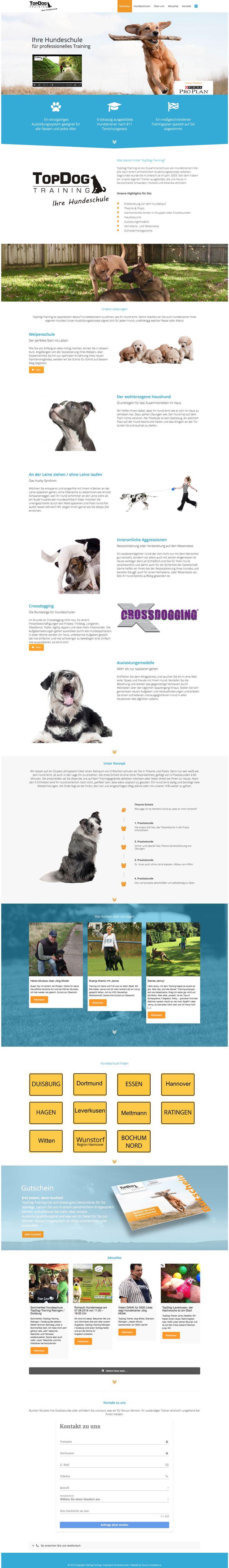 Webdesign - Hundeschule TopDog Training