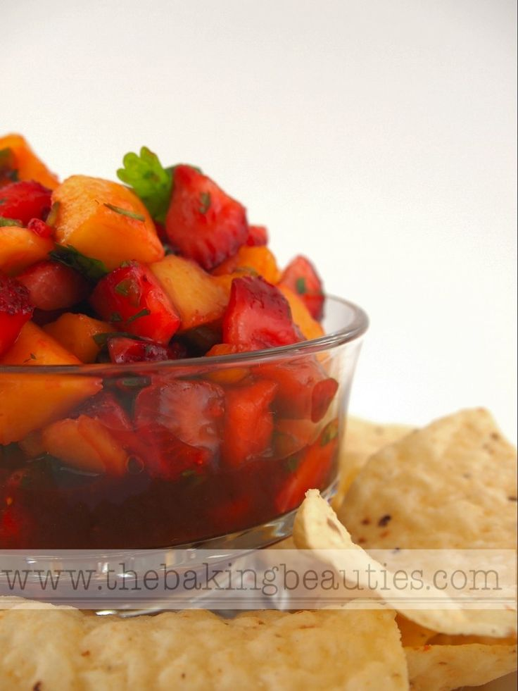 Strawberry Mango Salsa combines sweet fruit with some heat. Perfect served with fish or corn chips.