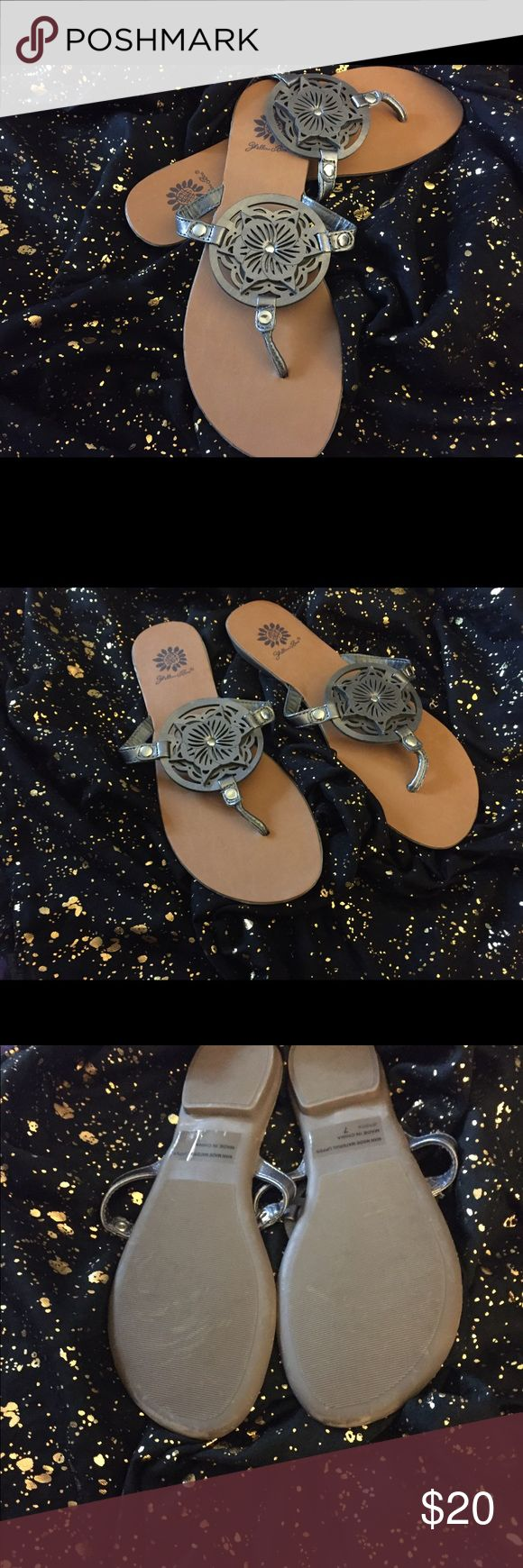 Yellow box pewter sandals Yellow box pewter sandals. Wore once inside of my home. Yellow Box Shoes Sandals