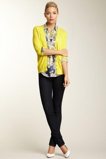 yellow cardigan + blue print shirt
